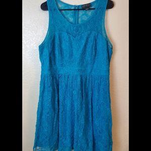 Forever 21 Plus Sleeveless Blue Lace Flare Dress